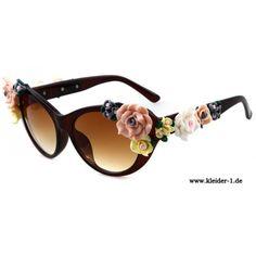 Braune Sonnenbrille mit Blumen