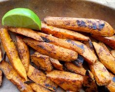 Chile-Lime Sweet Potatoes: The marriage of Southern comfort food laced with smoky Latin condiments is the perfect complement to grilled vegetable sandwiches and cold beers.