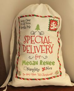The perfect way to delivery presents from the North Pole on Christmas morning! These personalized santa sacks are made of 100% quality canvas