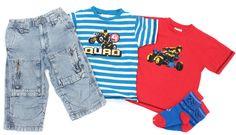 Coole 3/4 Jeans mit dazu passenden extrem coolen T-Shirts mit #Quad Motiven in Gr. 110 für sportliche Jungs.
