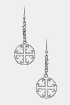 Designer Inspired Silver Cross Patterned Dangle Earrings with Rhinestones, 2.25″ (L) X 0.75″ (W)