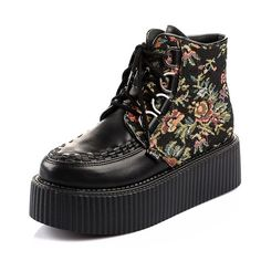 2015 Women's Black Flower Figure Style Sexy High Top Lace Up Flat PlatForm Women's Goth Creepers Shoes Punk Pumps Warm Ankle Martin Boots