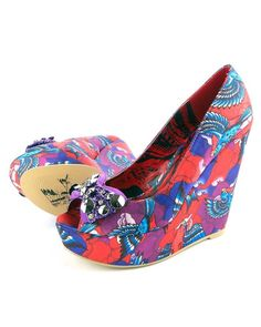 8ea6afc1e5d6 Iron Fist Havana Breeze Flying Birds Purple Peep Toe Wedge