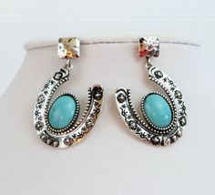 Cowgirl Bling HORSESHOE Turquoise Hammered Silvertone EARRING Gypsy Southwest #Unbranded #pierced