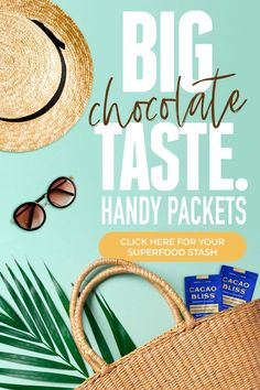 Get the big chocolate taste of Cacao Bliss that you know and love in handy travel sized packs  - available now to be your ride-along wherever you go - the beach, the office.... Big Chocolate, Healthy Chocolate, How To Make Chocolate, Danette May, Love Now, Travel Packing, Superfoods, Travel Size Products, Feel Good