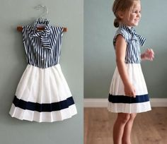 Nautical Navy Blue & White Vintage Style Sailor Dress