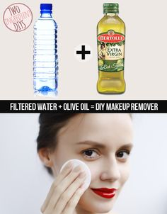 Make an easy and affordable makeup remover with just two ingredients. | 27 Insanely Easy Two-Ingredient DIYs