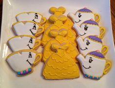 12 Disney Belle Mrs Potts Chip sugar cookies by BakeMyDayCookies, $36.00