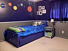 space geek bedroom: purple walls with planets