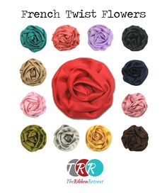 "French Twist Flowers $1.45 each.  This sweet and charming flower features rows of satin ruffles and a felt back. Gorgeous! Approximately 2.5""-3"" in diameter.  http://www.theribbonretreat.com/Ribbon/french-twist.aspx"