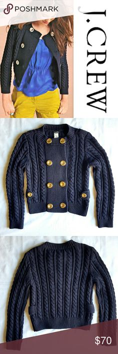 Toulouse Sweater Jacket The chunky cables, big gold buttons and peacoat-style fit make this cozy sweater chic as can be! 100% cotton. Fits a bit snug. Preloved in excellent condition. Sweaters Cardigans