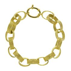 14 Karat Yellow Gold Oval Ribbed and Textured Link Bracelet from Mrs. Jones