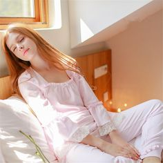 Long sleeved Pink Pajama Sets Cotton Sleepwear Fashion Women Sleepwear Suit Spring Autumn Lady Lounge Home clothing Long pant