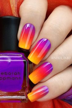 45 Glam Ideas For Ombre Nails Plus Tutorial - Neon Nail Designs, Nail Polish Designs, Nails Design, Rainbow Nails, Neon Nails, Gradient Nails, Glitter Nails, Uñas Color Neon, Sunset Nails