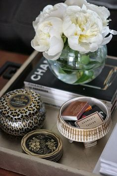 8 Reasons You Can Never Have Too Many Catchalls - Decorative Tray - Ideas of Decorative Tray - Gold silver tray chinois handles styling candle matches peonies! Tray Styling, Coffee Table Styling, Coffee Table Books, Decorating Coffee Tables, Styling Tips, Coffee Mugs, Decoration Table, Tray Decor, Mini Bar
