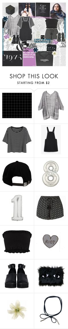 """""""IT'S MY BIRTHDAY"""" by feels-like-snow-in-september ❤ liked on Polyvore featuring FRIDA, Rebecca Taylor, Chanel, Monki, Brixton, Dr. Martens, The WhitePepper, Joanna Pybus and Clips"""