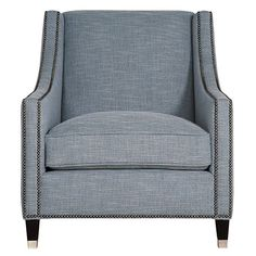 Bernhardt Palisades chair - no nail head. Weight of arms feels airy but may be too narrow for villa