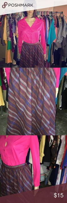 "Vintage Skirt Waist Laying Flat- 13"" Length Laying Flat - 30"" Side Button Skirts Midi"
