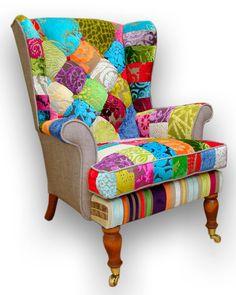Patchwork wing back armchair in Designers Guild door JustinaDesign, £595.00