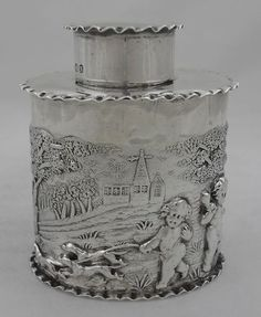 ANTIQUE STERLING SILVER TEA CADDY - CHESTER 1896 - NATHAN & HAYES