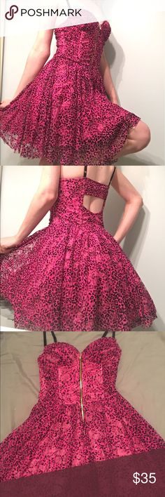 Betsey Johnson Pink Leopard Ruffle Dress Worn once, great condition, no pilling Betsey Johnson Dresses Midi