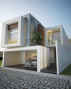 The modern home exterior design is the most popular among new house owners and those who intend to become the owner of a modern house. Modern Residential Architecture, Interior Architecture, House Front Design, Modern House Design, Townhouse Designs, Modern Contemporary Homes, Narrow House, Modern Mansion, Modern House Plans