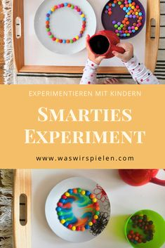 """Experimenting with children """"Smarties Experiment"""" - Step by step instructions for a simple and exciting experiment for children. The experiment invites - Das Experiment, Superhero Kids, Felt Books, Toilet Paper Roll Crafts, Montessori Materials, Problem Solving Skills, Creative Thinking, Pinterest Blog, Parenting Hacks"""