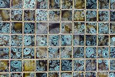 Ceramic tile mosaic background texture in natural colours