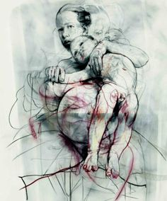 Jenny Saville, my observations: their bodies entwine as one creating a persona of one person, fragile to life, portrayed with a young child