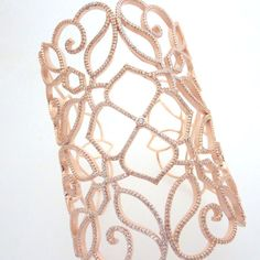 Rose Gold Cuff bracelet Crystal Wedding bracelet by treasures570