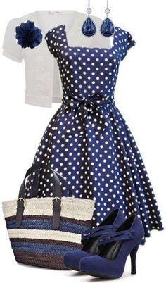 50s outfit blue polka dot dress