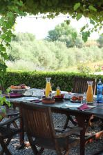 Breaksfast outside at Biohotel Cal Ruget, Penedès.