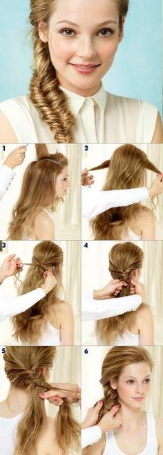 Side Fishtail Braid hairstyle for you.♡♡♡