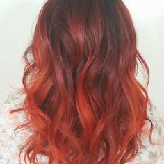 Red Ombre Hair | Wavy Red Ombre