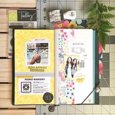 spread two and three in my creative journal. black tea boba from honu bakery and the better together class with @amytangerine.