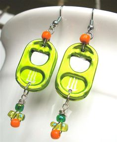 Soda Tab Earrings - Zest - lime green and orange - for teens and adults - eco-friendly/upcycled jewelry - under 15. $13.00, via Etsy.