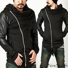 $70.00USD NewStylish-Mens-Fashion-Asymmetric-Leather-Contrast-Sleeve-Diagonal-Zip-Up-Hoody