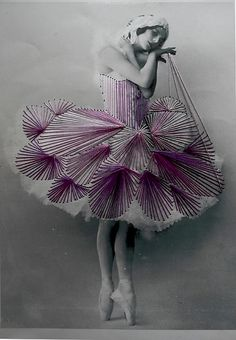 Embroidered vintage photographs.  dance8 by J 0 2 e, via Flickr