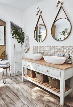 This bathroom sanctuary is a grown-up space to relax in – we can't get enough of the gorgeous double sink. Bathroom Inspo, Bathroom Styling, Bathroom Interior Design, Bathroom Inspiration, Modern Bathroom, Small Bathroom, Relaxing Bathroom, Master Bathroom, Bench In Bathroom