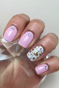 Valentine's day 2015 Nail Art With Studs #gelish #valentine's #day #studs #pink #manicure #nailart #lslfunblog