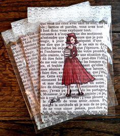 Paris Vintage Book Page Postcards Set of 12 £6.00