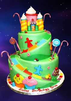 Candyland Cake.   Forget the kids! I want this for MY next birthday!