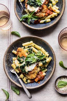 Spring Chicken Parmesan with Tuscan Kale Pesto | halfbakedharvest.com #chicken #recipe #healthy