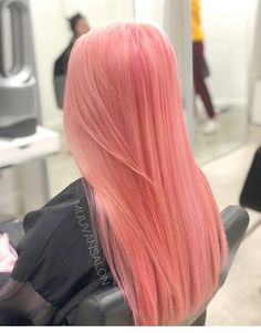 Fabulous 85 pastel pink hair ideas color You are in the right place about christmas … Pastell Pink Hair, Hair Color Pink, Hair Dye Colors, Cool Hair Color, Baby Pink Hair, Pink Peach Hair, Long Pink Hair, Black Hair, Gray Hair