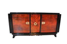 Art Deco, Sideboard, Makassar, Furnier, Messing, Ornamente, Klavierlack, Barfach, einzigartige Musterung, original Möbel, Frankreich
