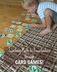 Teaching math to preschoolers through playing card games!  Such fun math activities for preschoolers. Full of number recognition and much more! www.HowWeeLearn.com