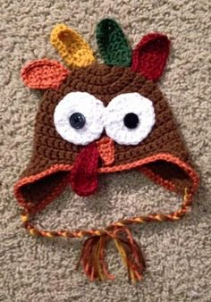 Crocheted Turkey Hat Handmade.  Newborn #Handmade