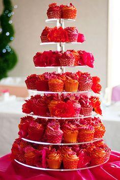 Red, Orange and Pink cupcakeTower. Like, Hello Red Velvet cake with Orange icing! Cupcake Tower Stand, Cupcake Tower Wedding, Cupcake Display, Wedding Cupcakes, Cupcake Towers, Party Wedding, Wedding Cake, Wedding Ideas, Orange And Pink Wedding