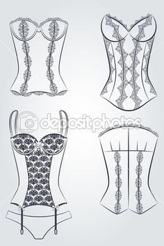 Vintage corset with beautiful ornament on the background. Flat Drawings, Flat Sketches, Dress Sketches, Lingerie Cookies, Shoe Cookies, Corset Tutorial, Fashion Illustration Tutorial, Croquis Fashion, Fashion Illustrations