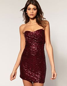 ASOS TFNC Bandeau Sweetheart Sequin Dress $89.8, in plum